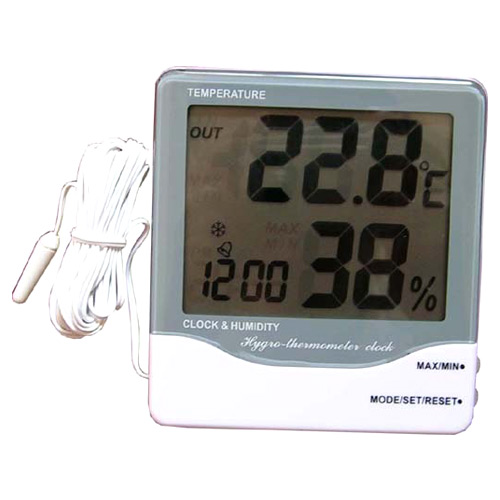 Thermometer Humidity Clock with Probe